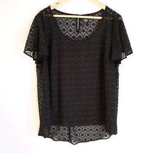 Torrid Black Sheer Lace Ruffle Short Sleeve Blouse